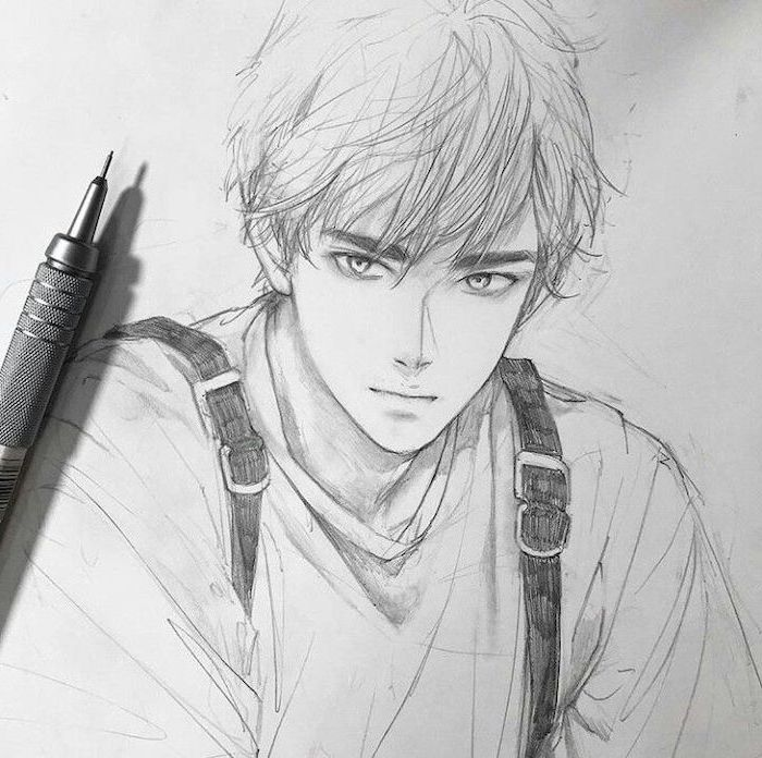 Pencil Sketch Black And White Cute Anime Drawings In 2020 Anime Drawings Sketches Realistic Drawings Anime Drawings Boy