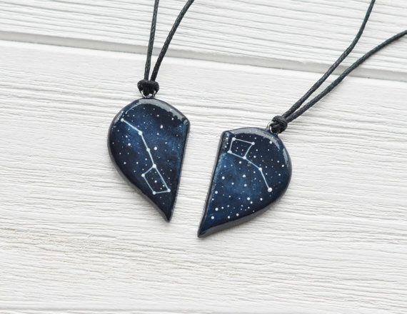 Half heart necklace Big dipper pendant Little dipper gift Two hearts necklace Boyfriend gift Girlfriend gift Dipper constellation Ursa Minor pendant