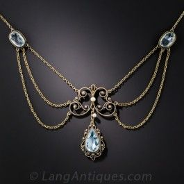Antique Aquamarine Necklace - Edwardian Jewelry - Vintage Jewelry