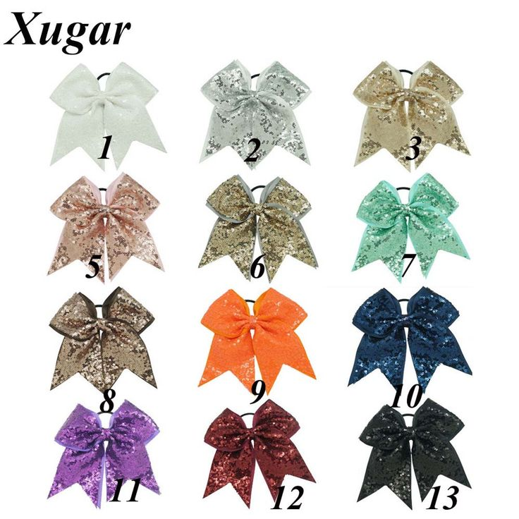 7'' Good Quality Sequin Cheer Bow For ChIldren Girls Lovely Boutique Grosgrain Ribbon Hair Bow Hair Accessories