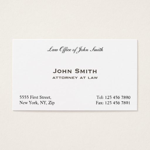 Professional Elegant Plain Attorney Law Office Business Card
