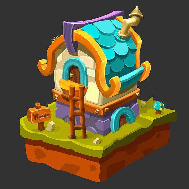 Fantasy house concept, Angelika  Winter on ArtStation at https://www.artstation.com/artwork/fantasy-house-concept