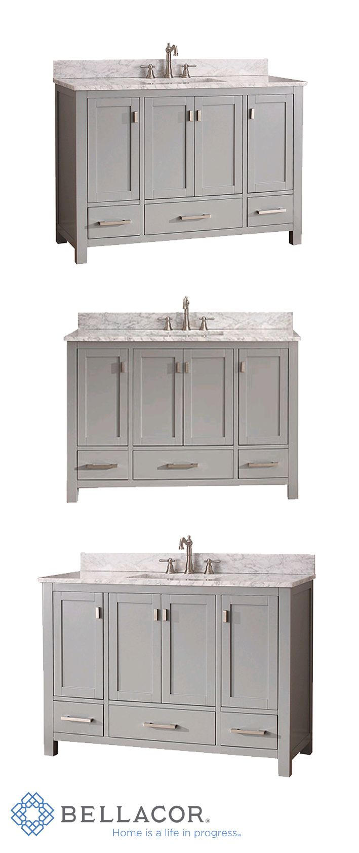 Avanity Modero Chilled Gray 48 Inch Vanity Combo With White Carrera Marble Top Simple Brushed