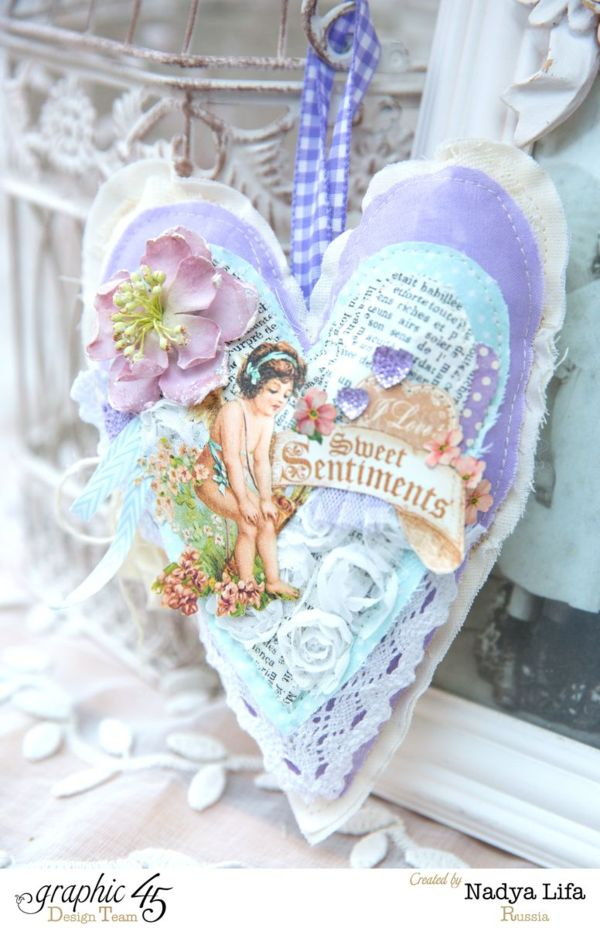 Beautiful hanging fabric heart made by Nadya using fabric and Sweet Sentiments #graphic45