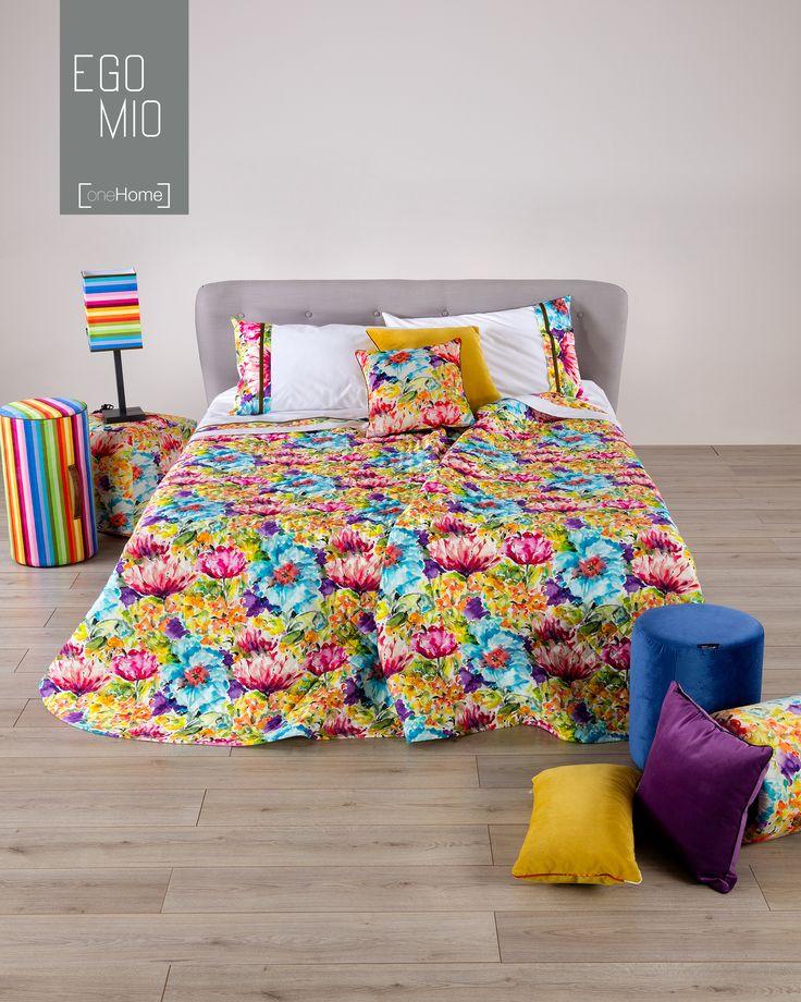I colori dell'arcobaleno sono utilizzati nella #EgomioCollection by #Reevèr per realizzare una fantasia floreale che renderà luminosa la camera da letto. http://www.reever.it/it/Egomio.html