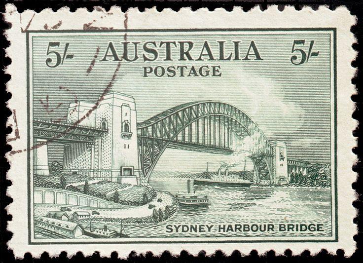 Australian Stamp, the new Sydney Harbour Bridge, c. 1940s.