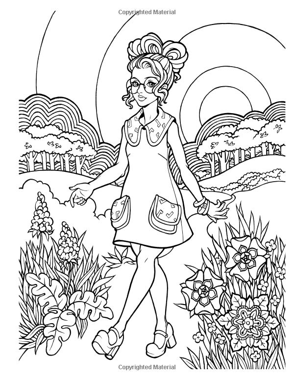 fashion coloring from groovy 70s fashion coloring book for adults by lightburst media