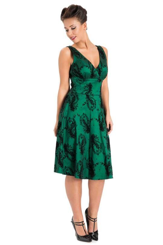 Voodoo Vixen Prachtige smaragdgroene jurk met zwarte sierlijke print