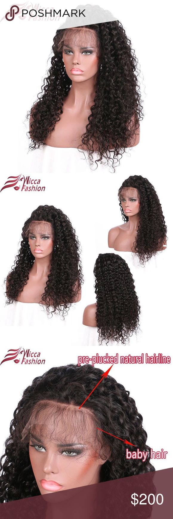 "Wicca Fashion Non remy curly wig wicca fashion Non-Remy Curly Wigs 16"" Nature Color Peruvian Lace Front Human Hair Wigs 150% Density Frontal Lace Wig wicca Accessories Hair Accessories"