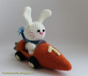 Bunny in Carrot Car Amigurumi - FREE Crochet Pattern and Tutorial. In Russian, but Google Translate will help.