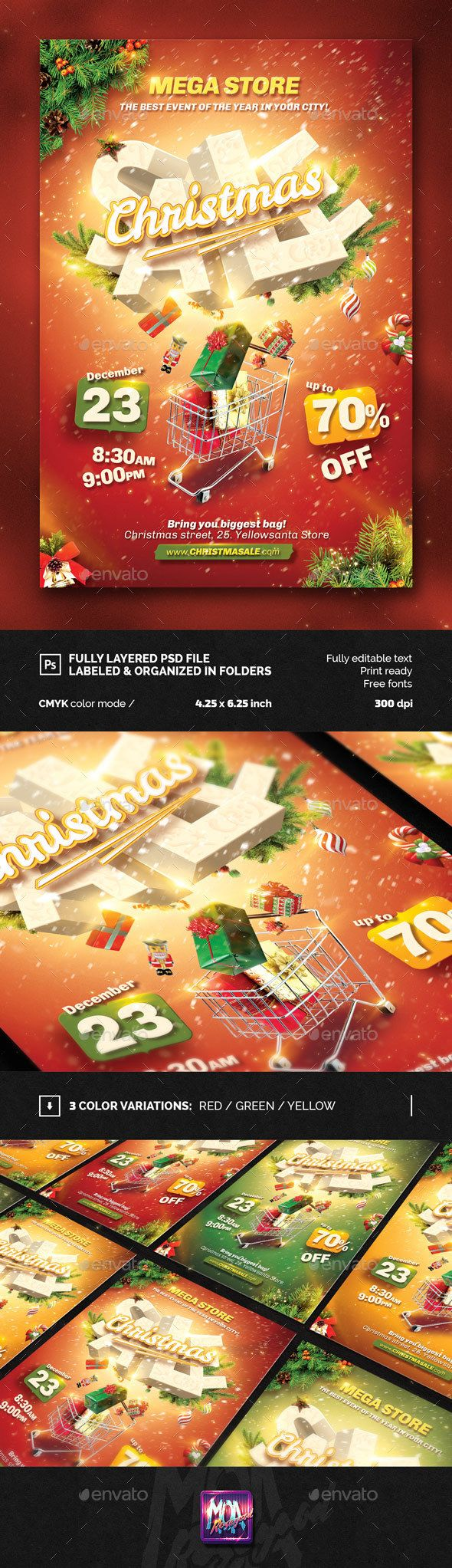 Christmas Sale Flyer Template PSD #design Download: http://graphicriver.net/item/christmas-sale-flyer-template/13830525?ref=ksioks
