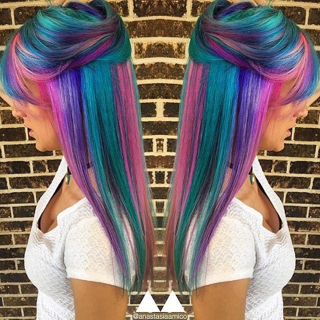 Neon Rainbow hair color by Anastasia Amico. Unicorn hair Vivid Hair color Rainbow hair hotonbeauty.com