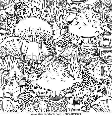 Floral Ornate Decorative Tribal Forest Vector Coloring Book