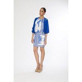 Vestido estampado en gasa, sin mangas Alba Conde - Lucia Moda