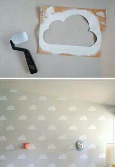 Cute for kids room! Especially toy story fans! maybe a few clouds over the headboard of the bed? @Karen Swaim m