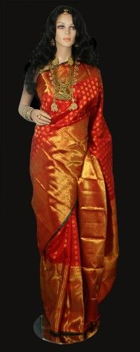 Classic Red Bridal Kanjeevaram Saree