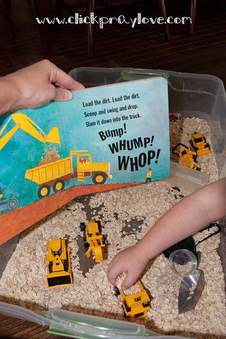 SENSORY STORIES. Combine sensory play with reading a book. eg a tray full of porridge oats and trucks with a book about roadworks. Or a tray with water and rubber ducks with a book about a pond. See if you can match the actions in the play to the story