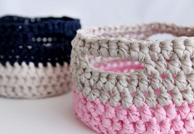 Looking for something quick and useful to make? These handy crochet baskets are just the project for you! | Difficulty: Beginner; Length: Short; Tags: Crochet, Homewares, Fabric Yarn, Crochet Hook, Darning Needle