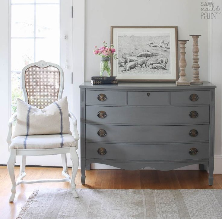 Beautiful French Farmhouse stye makeover of a Dixie Hepplewhite dresser. This pretty vintage piece was transformed with Country Chic Paint in Cobblestone.
