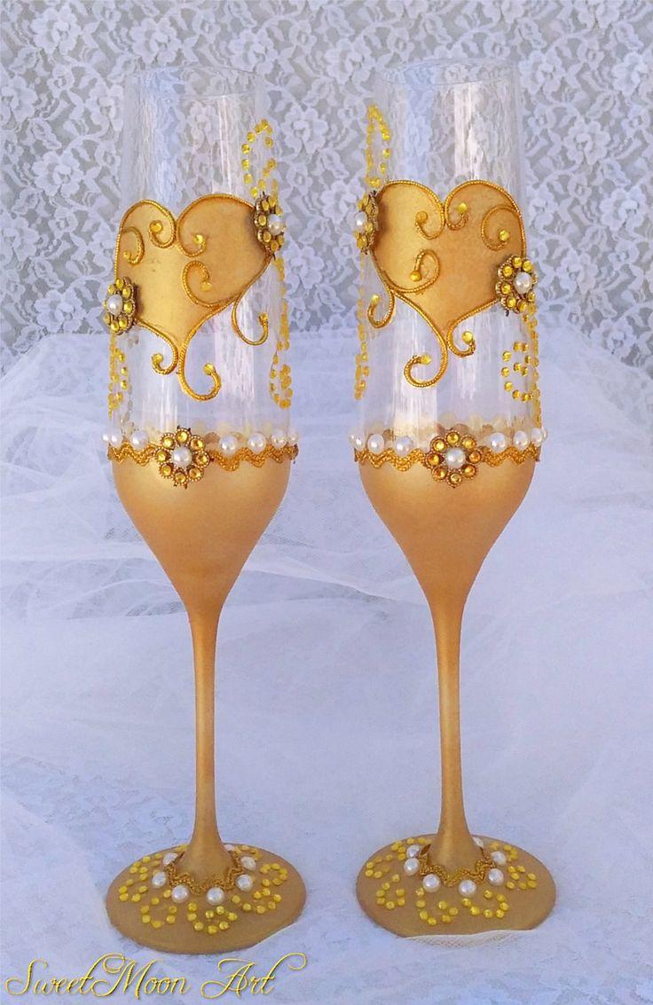 Copas para boda, flautas boda,   copas para brindar, copas para boda, copas de compromiso, copas de champagne. de SweetMoonArt en Etsy
