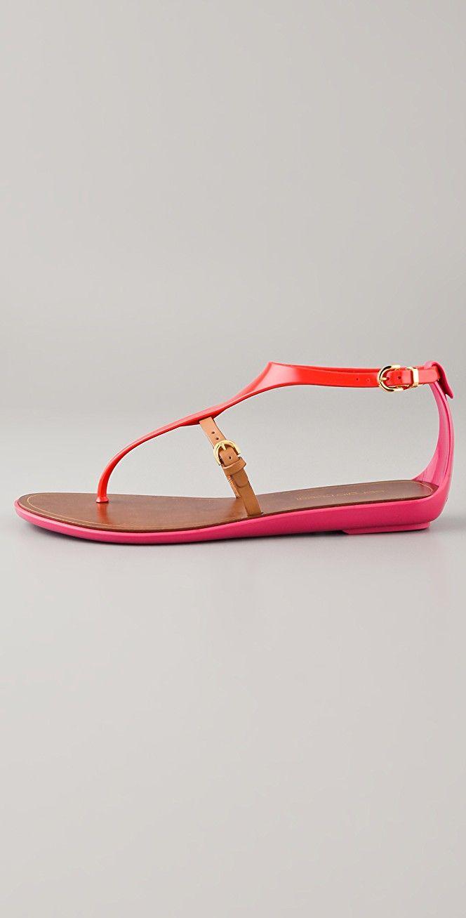 Sergio Rossi T Strap Rubber Sandals | SHOPBOP