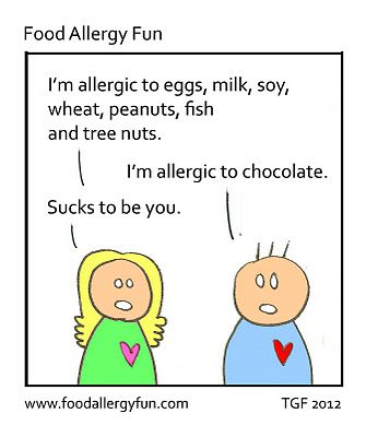 Food Jokes. Food Humor. This is a FABULOUS perspective on food allergies. It WOULD suck to be allergic to chocolate! LOL!