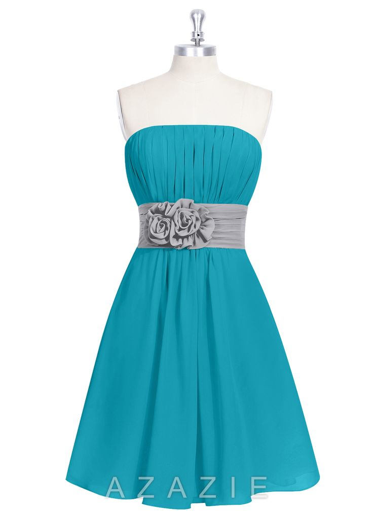 Azazie Kylie  Brides maids dresses!!!  The girls in Teal with grey accent and the guys in grey with Teal accent
