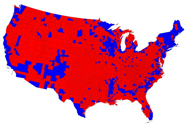 2012 Presidential Election - Binary Red/Blue Map by County