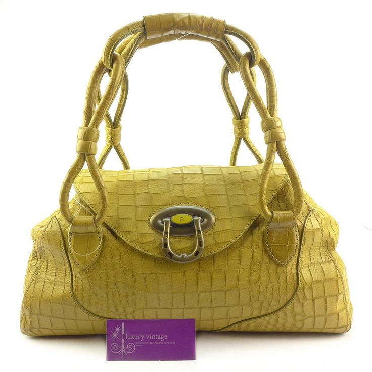 #Aigner Tote Croc Skin Fair Condition Ref.code-(GRCY-2) More Information Pls Email  (- luxuryvintagekl@ gmail.com)
