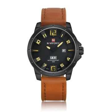 NAVIFORCE 9061 Fashion Military Quartz Men Watch Leather Strap Sport Wrist Watch at Banggood