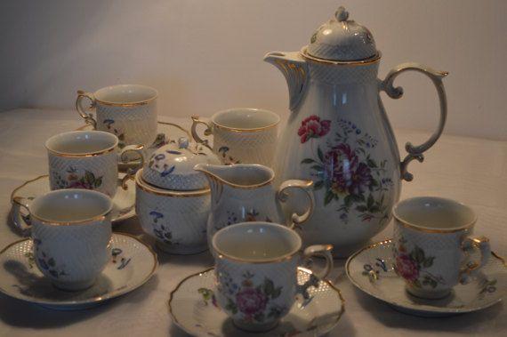 Hollóháza Porcelain Vintage set for 6 persons by KrisztinaVintage