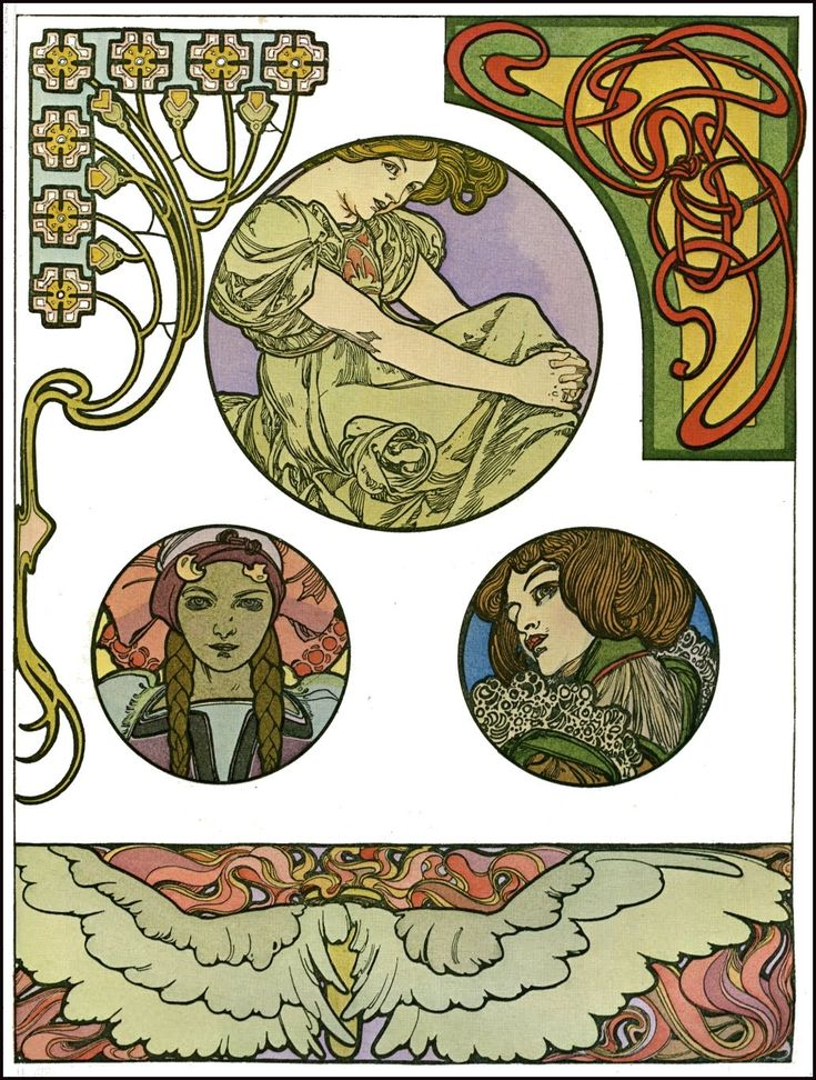 Artwork by Art Nouveau artist Alphonse Mucha (1860-1939).