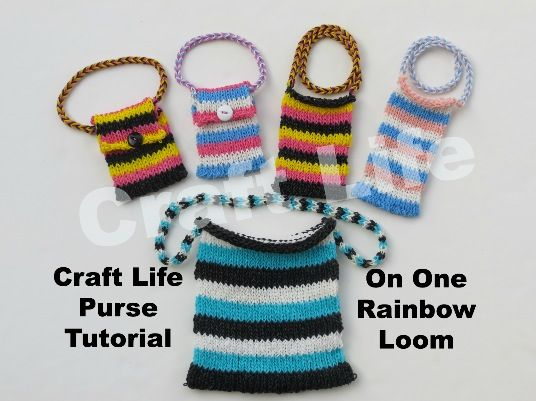 Craft Life Purse Tutorial on One Rainbow Loom   Can also be used as a    Rainbow Loom Mini Purse Craft Life
