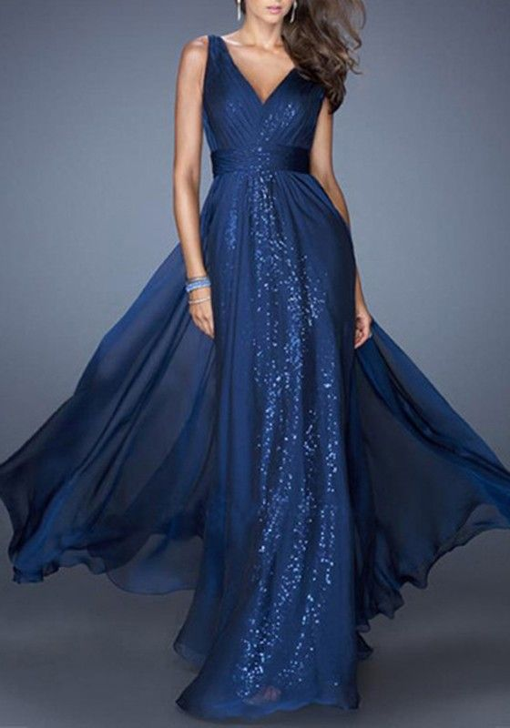 Blue Plain Sequin V-neck Party Chiffon Maxi Dress