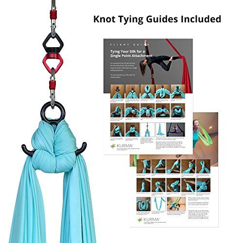 Aerial Silks Equipment for Acrobatic Flying Dance, Includes all Hardware, Fabric & Guide