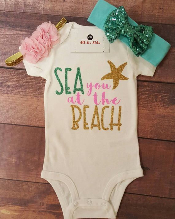 Baby girl clothes, summer baby clothes, sea you at the beach bodysuit