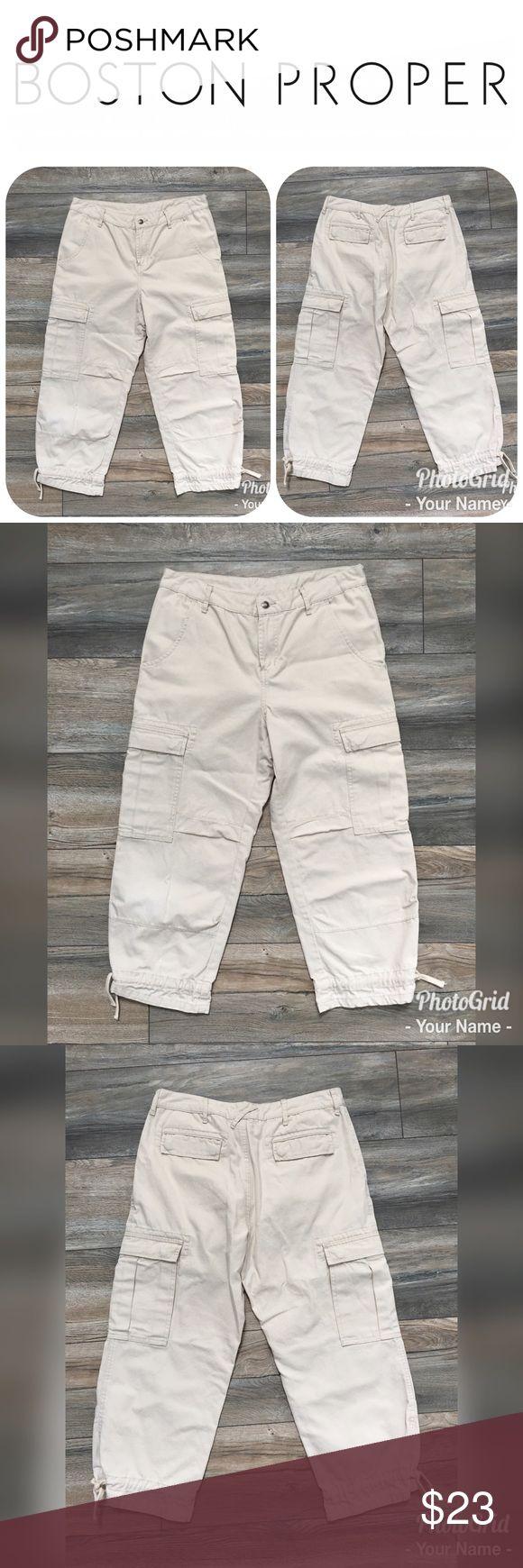 "LIKE NEW BOSTON PROPER Khaki Capri Pants Size 10 These are a pair of LIKE NEW BOSTON PROPER Khaki Capri Pants in a size 10.  The inseam is approximately 24"" and rise 10.5"".  These Khaki Capris are absolutely adorable and originally $49! Boston Proper Pants Capris"