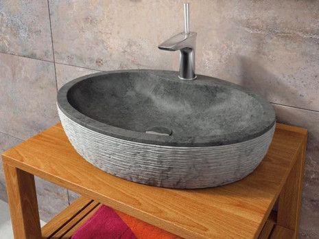 Santorini 55 Negro Bathco Bathco umywalka kamienna nablatowa - 00313  http://www.hansloren.pl/Umywalki-kamienne/598