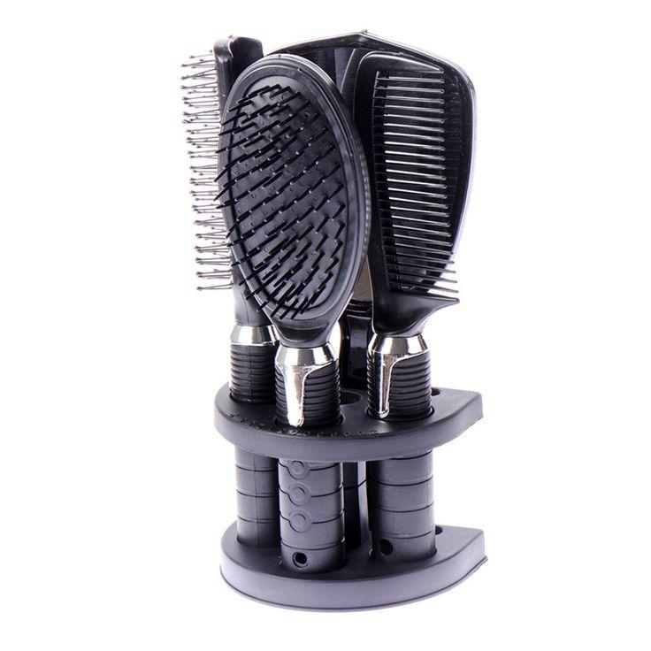 5Pcs/set Hairbrush Travel Combs Peine Salon Hair Comb Set Tangle Hair Brush Styling Tools Massage Combs+Mirror&Shelf For Women