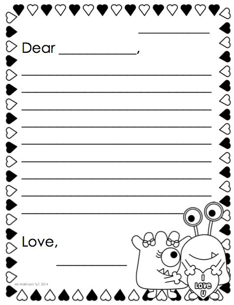 Kindergarten letter writing template maxwellsz