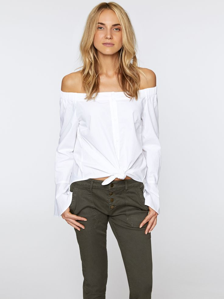 Model is 5'11' and wearing a size S Front Length 21' Back Length 23' Sleeve Length 23 1/2' 100% Cotton Machine Wash Cold, Tumble Dry Low Import