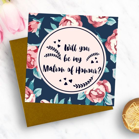 A beautifully designed card to surprise your best friend with.  This navy & blush themed card has been lovingly designed to be the perfect keepsake for your matron of honour. It is contemporary & stylish, yet unique & individual. The design detail is carried through onto the back of the card, with a lovely finish. Matching Will you be my bridesmaid? card available here: https://www.etsy.com/uk/listing/482340629/will-you-be-my-bridesmaid-luxury-wedding...