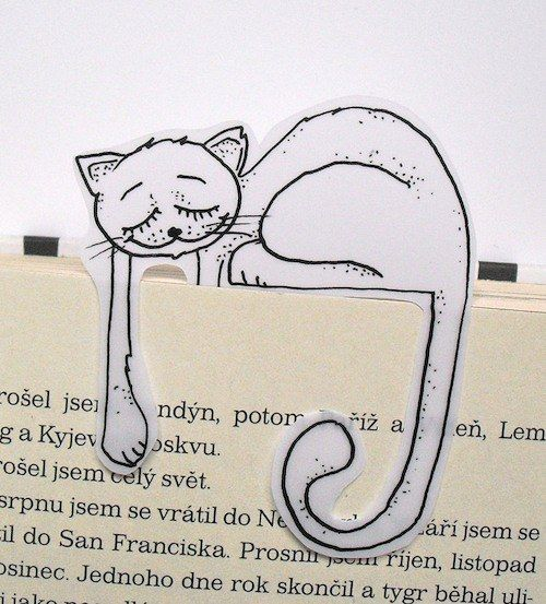 Spinkající kočička Žofie - průsvitná záložka