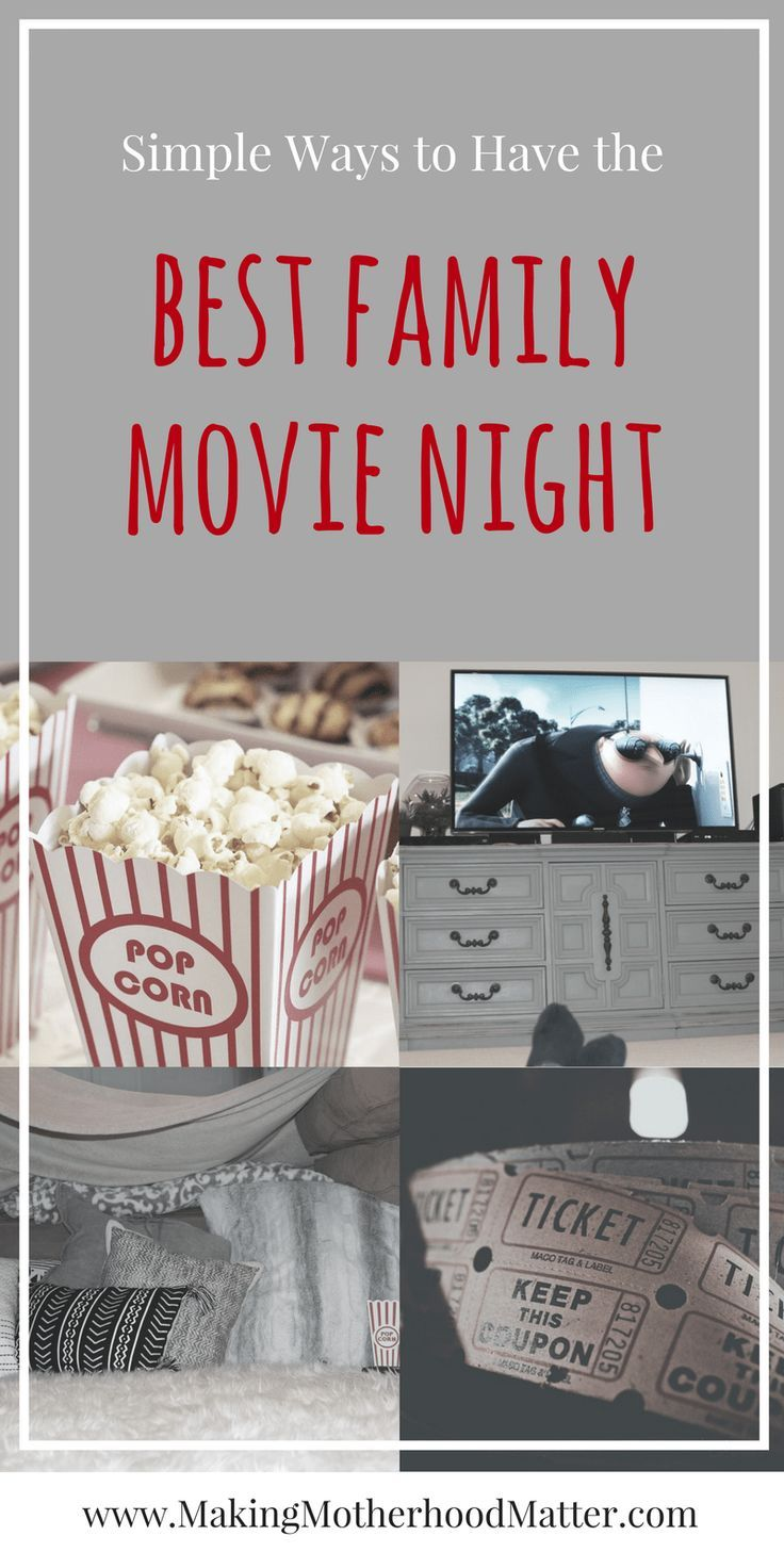 Read how we make unforgettable memories with these simple ways to have the best family movie night. Plus our top 10 favorite kid movies. Visit www.makingmotherhoodmatter.com to view our top family movies and 8 ways to have the best family movie night. #familymovienight #familymovienightideas #familymovietime #familymovies #kidsmovie #familyfun Via @AmyatMMM