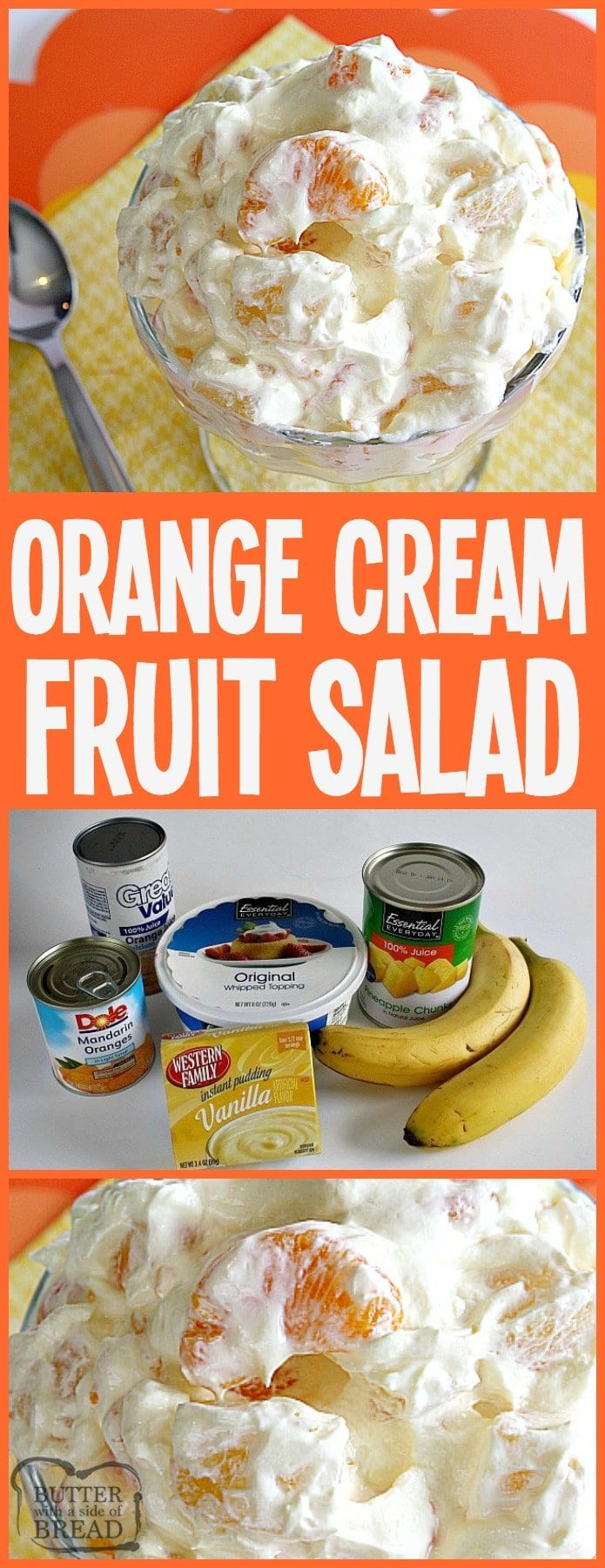 Orange Cream Fruit Salad is a lovely fruit salad filled with oranges, pineapple and bananas with a sweet orange cream mixed in! Perfect to go alongside Easter dinner!  #salad #fruit