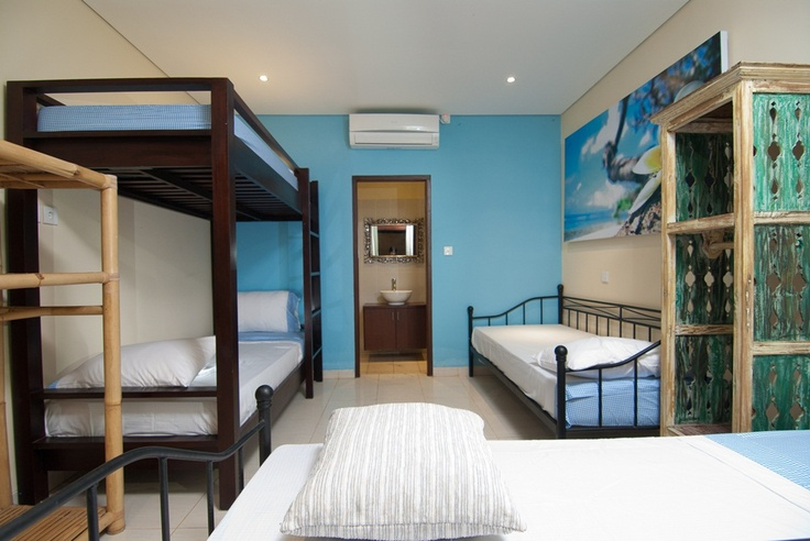 kids room with 4 single beds
