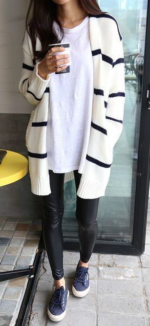 leather leggings, striped cardigan