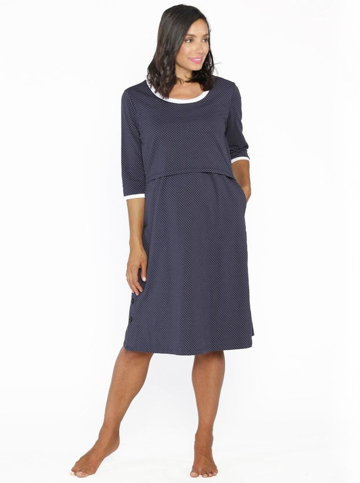 Hospital Birthing Gown with Nursing Access in Navy Spots, $49.95, is the one item you need on delivery day! Don't limit yourself with the old gown the hospital provides and give birth in style. Features easy nursing access and allows for immediate skin to skin contact with your baby.