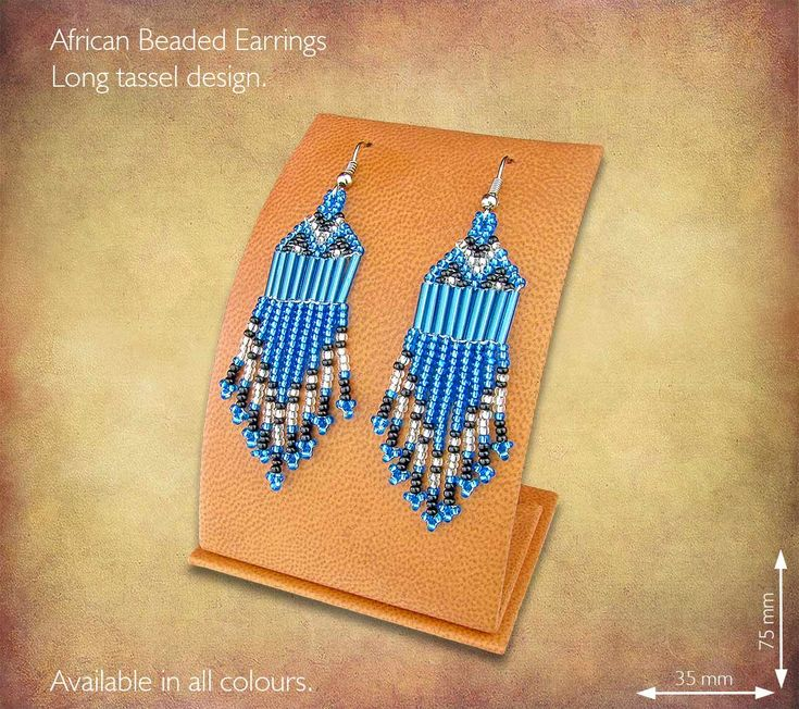 African Beaded Earrings - Long Tassel design. Handmade in South Africa by highly skilled Zulu Beadworkers. Wide range of African Beaded Jewelry available on our website www.earthafricacurio.com