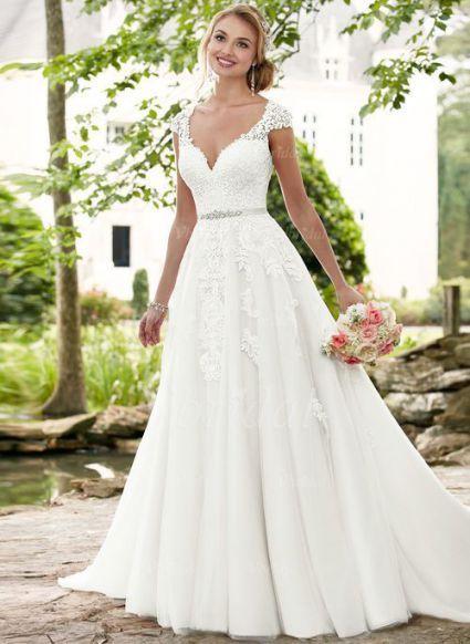 Hochzeitskleid A Linie Spitze Herz Ausschnitt – Hochzeit Modern – Brautkleid A